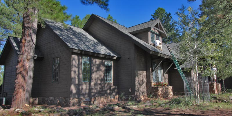 Exterior Painting In Progress In Forest Highlands